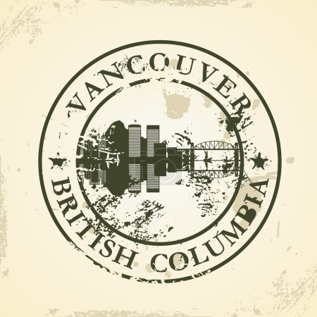 Grunge rubber stamp with Vancouver, British Columbia