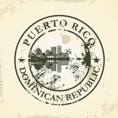 Grunge rubber stamp with Puerto Rico Dominican Republic