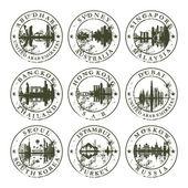 Grunge rubber stamps with Abu Dhabi Sydney Singapore Bangkok