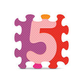 Vector number 5 written with alphabet puzzle