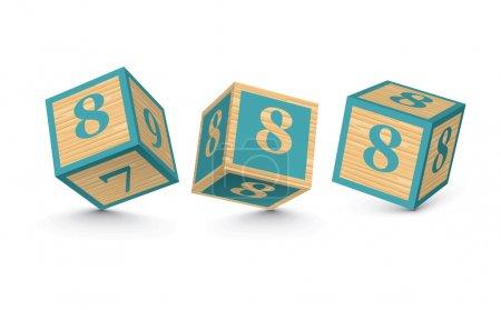 Vector number 8 wooden alphabet blocks