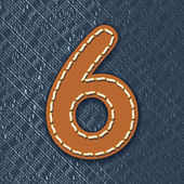 Number 6 made from leather on jeans background - vector illustration