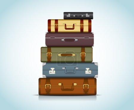 Illustration pour Cette image est un fichier vectoriel représentant une collection de valises de voyage . - image libre de droit