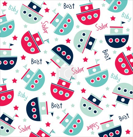 Vector seamless pattern of sailor boats