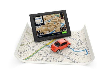 3d illustration: GPS navigation map and a car.