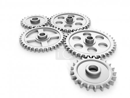 3d illustration: Group gears on a white background