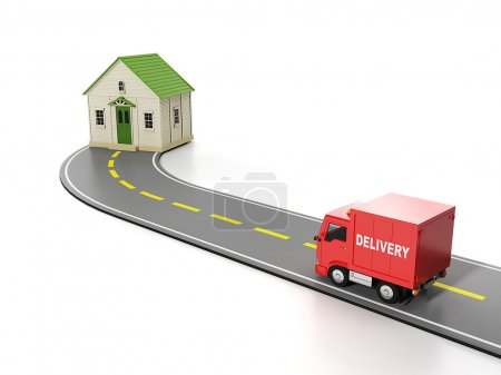 Photo for 3d illustration: Transportation, cargo. Free home delivery - Royalty Free Image