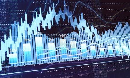 Photo pour Statistiques et analyses des entreprises, statistiques du négoce boursier dans l'obscurité - image libre de droit