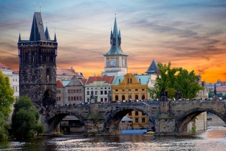 Tyn Church in Prague at sunset