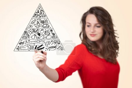 Photo for Young woman drawing a various food pyramid on whiteboard - Royalty Free Image