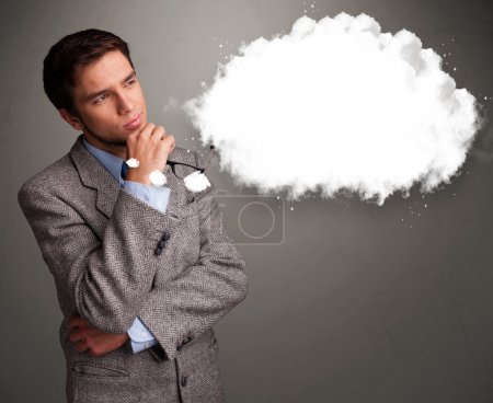 Young man thinking about cloud speech or thought bubble with cop
