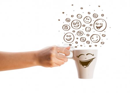 Coffee-cup with brown hand drawn happy smiley faces