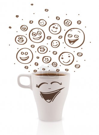 Photo for Coffee-cup with brown hand drawn happy smiley faces, isolated on white - Royalty Free Image