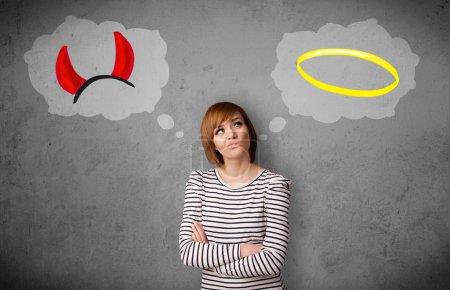Woman choosing between good and bad