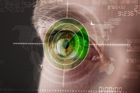 Photo for Modern man with cyber technology target military eye concept - Royalty Free Image