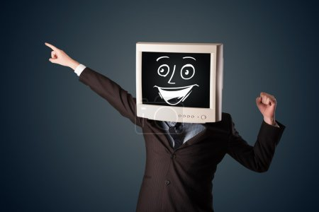 Photo for Happy businessman with a personal computer monitor head and a smiley face - Royalty Free Image