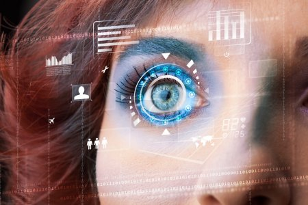 Photo for Future woman with cyber technology eye panel concept - Royalty Free Image