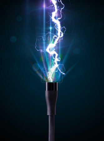 Photo for Electric cable close-up with glowing electricity lightning - Royalty Free Image