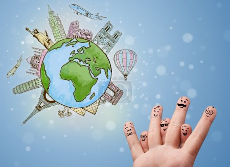 Photo for Cheerful happy smiling fingers with famous landmarks of the globe - Royalty Free Image