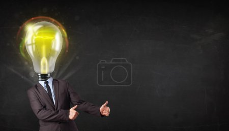 Photo for Business man with idea light bulb head concept - Royalty Free Image