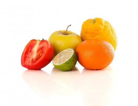 Photo for Healthy colorful tropical fresh fruits on white background - Royalty Free Image