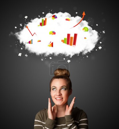 Photo for Thoughtful young woman with cloud and charts concept - Royalty Free Image