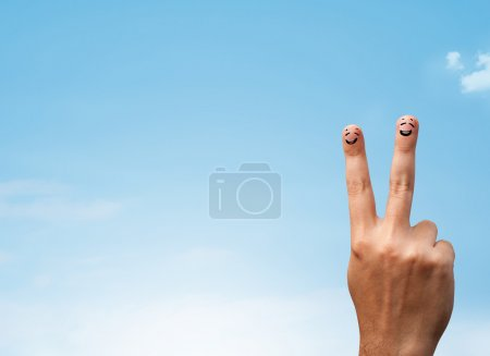 Photo for Happy cheerful smiley fingers looking at clear blue sky copyspace - Royalty Free Image