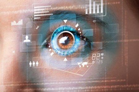 Photo pour Future femme avec cyber technologie concept de panneau oculaire - image libre de droit