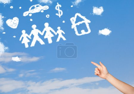 Hand pointing at family and household clouds