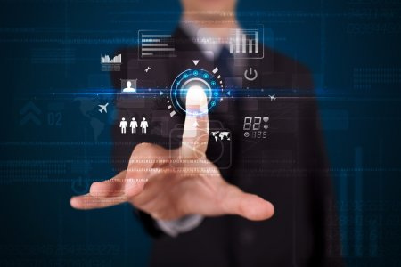 Photo for Businessman touching future web technology buttons and icons - Royalty Free Image