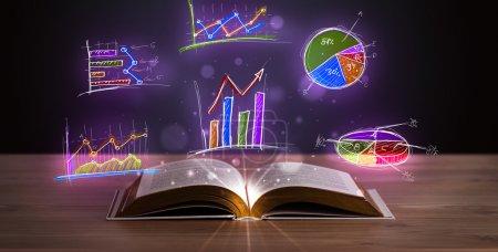 Photo pour Livre sur le pont en bois avec des illustrations et des symboles graphiques lumineux - image libre de droit