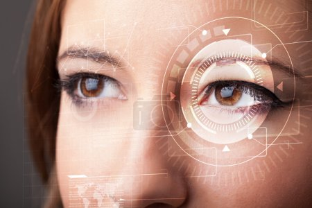 Photo for Modern cyber girl with technolgy eye looking - Royalty Free Image