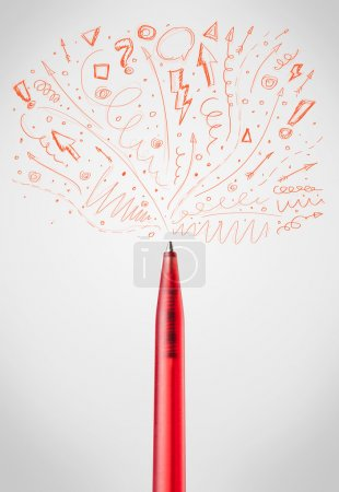 Photo for Pen drawing sketchy arrows and lines - Royalty Free Image