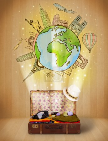 Luggage with travel around the world illustration concept
