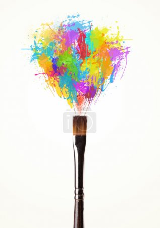 Photo for Paintbrush close-up with colored paint splashes - Royalty Free Image