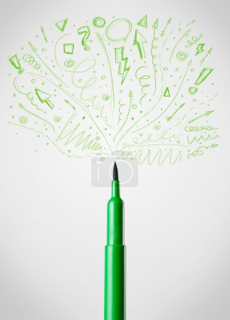 Photo for Coloured felt pen close-up with sketchy arrows - Royalty Free Image