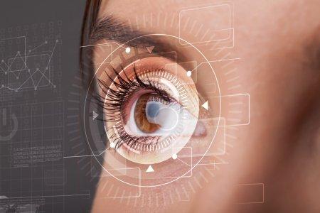 Cyber girl with technolgy eye looking