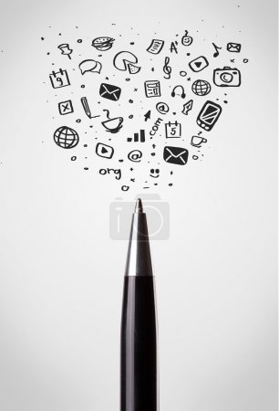 Photo for Pen close-up with sketchy social media icons - Royalty Free Image