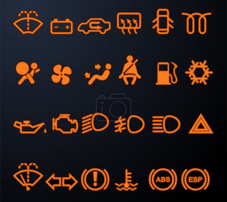 Illuminated car dashboard icons