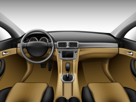 Illustration pour Tableau de bord - intérieur de voiture beige, en gradient de maille - image libre de droit