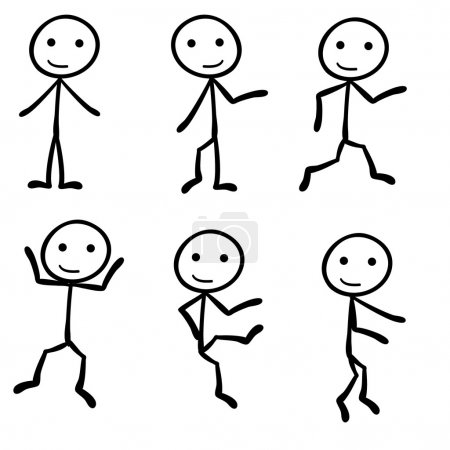 Illustration for Six different stick figure with different pose - Royalty Free Image