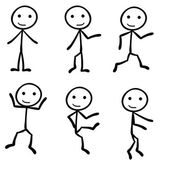 Six different stick figure with different pose