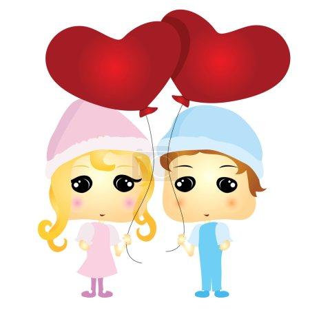 Illustration for Cartoon couple - Royalty Free Image