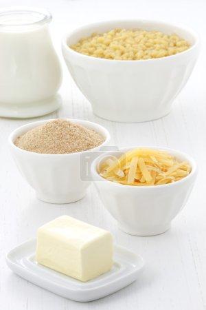 Photo pour Délicieux macaronis et fromages avec une crème de lait lisse, de la chapelure fine et du fromage cheddar vieilli. Presque tous les enfants et les adultes vont adorer. . - image libre de droit