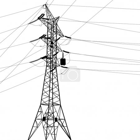 Silhouette of high voltage power lines illustration.