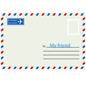 White envelope with stamp.