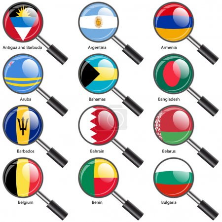 Photo for Set Flags of world sovereign states magnifying glass illustration. Set number 2. Exact colors. Easy changes. - Royalty Free Image
