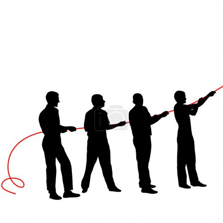 Black silhouettes of people pulling rope . Vector illustration.