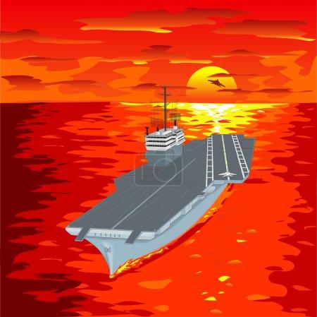Illustration pour Porte-avions flottant sur les vagues avec avion volant à partir d'elle une illustration vectorielle - image libre de droit