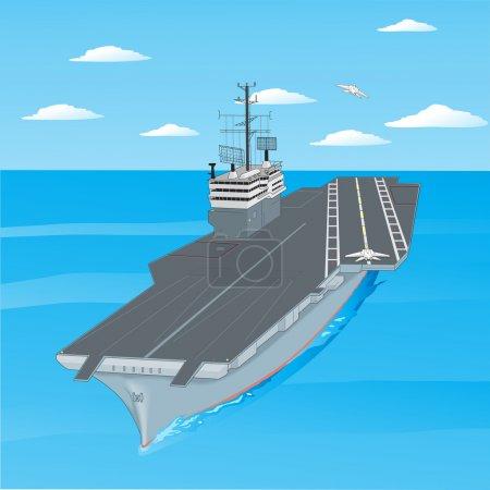 Illustration pour Avions décollant du pont d'un porte-avions dans l'océan. - image libre de droit